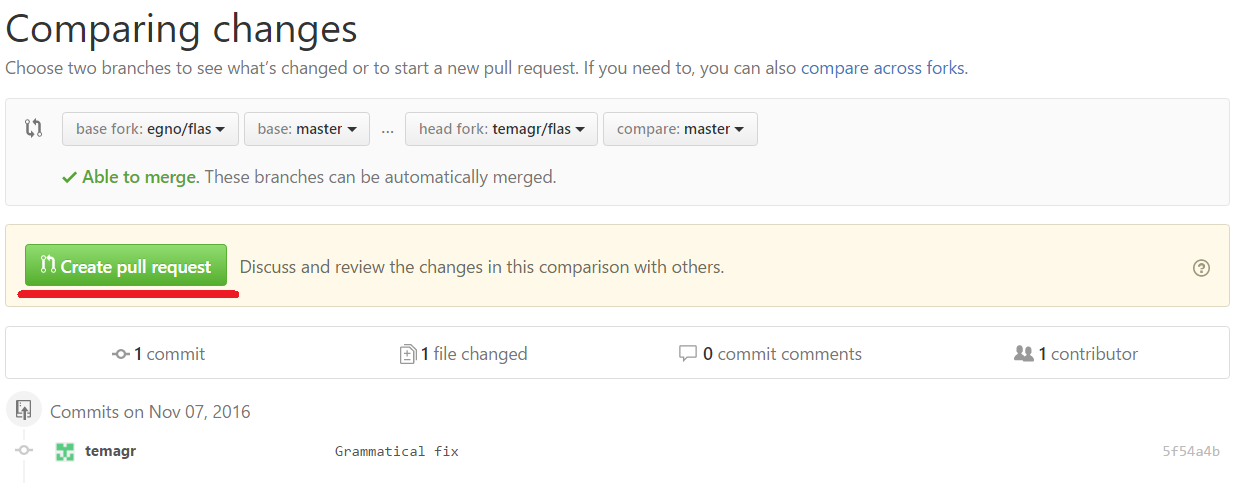 create pull request