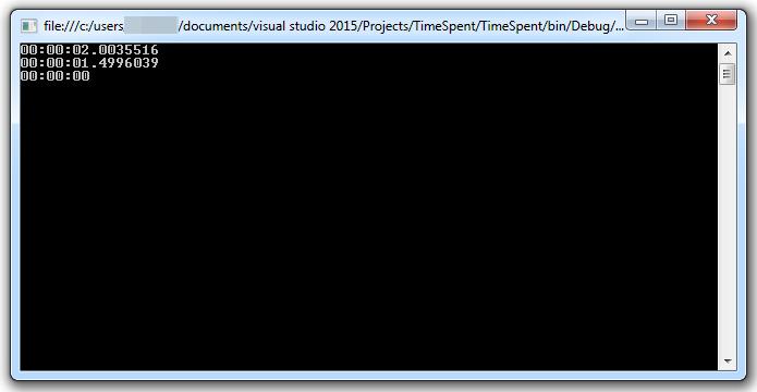 результат замера времени работы в C#